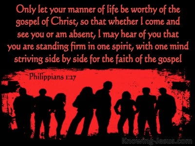 Philippians 1:27 Let  Your Life Be Worthy Of The Gospel Of Christ (red)